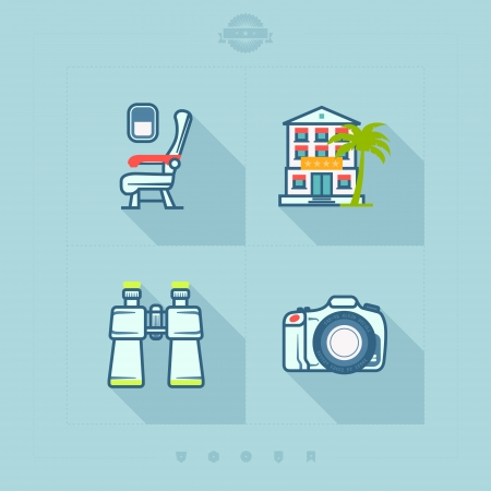 4 icons in relations to summer vacation time Airplane seat, Hotel, Binoculars, Photo Camera 矢量图片