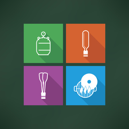 Four icons in relation to a Baby born time - Baby care objects, pictured here from left to right, top to bottom: Gas cylinder, Spatula, Barbecue tongs, Grill top. Vector icons made in metro flat UI style saved as an EPS version 10.