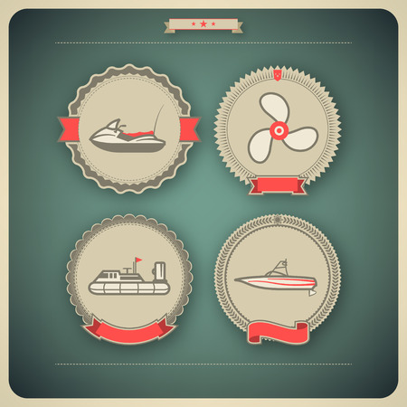 4 vector icons related to ships, boats and other objects/symbols in relation to boat swimming, pictured here from left to right, top to bottom: Water scooter (motor boat), Propeller, Hovercraft, Wakeboard boat. Vector icon badges set (transparent shadow Ilustrace