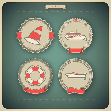 4 vector icons related to ships, boats and other objects/symbols in relation to boat swimming, pictured here from left to right, top to bottom: Windsurfing, Submarine, Lifebuoy, Motorboat. Vector icon badges set (transparent shadow applied in this file) Ilustrace
