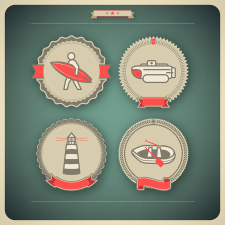 4 vector icons related to ships, boats and other objects/symbols in relation to boat swimming, pictured here from left to right, top to bottom: Surfer, Bathyscaphe, Lighthouse, Pontoon. Vector icon badges set (transparent shadow applied in this file) sa