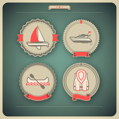 4 vector icons related to ships, boats and other objectssymbols in relation to boat swimming, pictured here from left to right, top to bottom:  Sailboat (yacht), Motorboat, Canoe, Lifejacket.  Vector icon badges set (transparent shadow applied in this fi