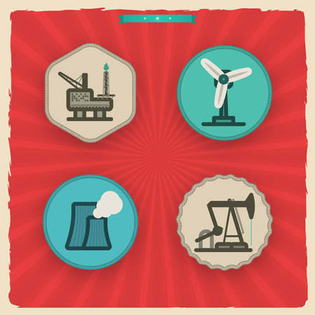 Industry & Heavy industry icons set, pictured here from left to right - Fossil-fuel power station, Oil well, Oil Rig, Wind farm.'Sundown' Style Vector Icons Set saved as an EPS v. 10