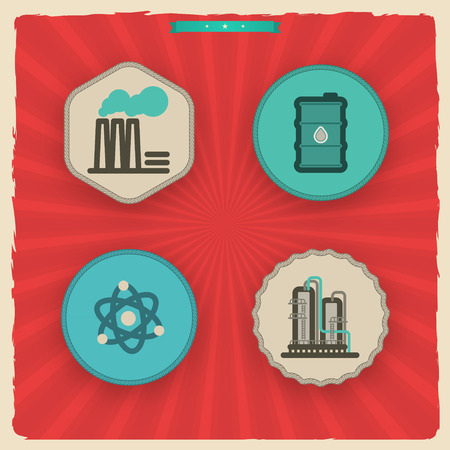 Industry & Heavy industry icons set, pictured here from left to right - Factory, Barrel of oil, Nuclear power plant, Chemical plant.'Sundown' Style Vector Icons Set saved as an EPS v. 10