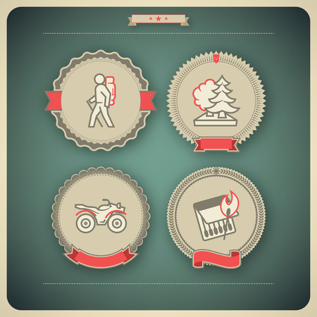 4 vector icons related to ships, boats and other objects symbols in relation to boat swimming, pictured here from left to right, top to bottom  Backpacker  hiker, trekker , Forest, Quad bike, Burning match  Vector icon badges set  transparent shadow appli Illustration
