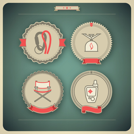 4 icons related to ships, boats and other objects symbols in relation to boat swimming, pictured here from left to right, top to bottom  Locking carabiner, Camping stove, Folding chair, GPS mobile positioning