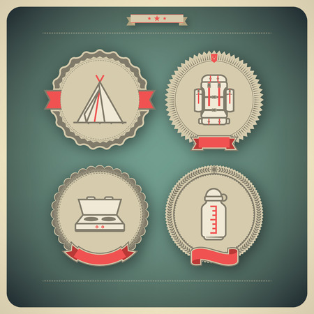 4 icons related to ships, boats and other objects symbols in relation to boat swimming, pictured here from left to right, top to bottom  Tipi, Backpack, Camp stove, Bottle cage
