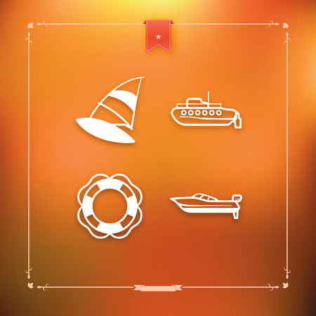 4 icons related to ships, boats and other objects and symbols in relation to boat swimming, pictured here from left to right, top to bottom -  Windsurfing, Submarine, Lifebuoy, Motorboat.  Ilustrace