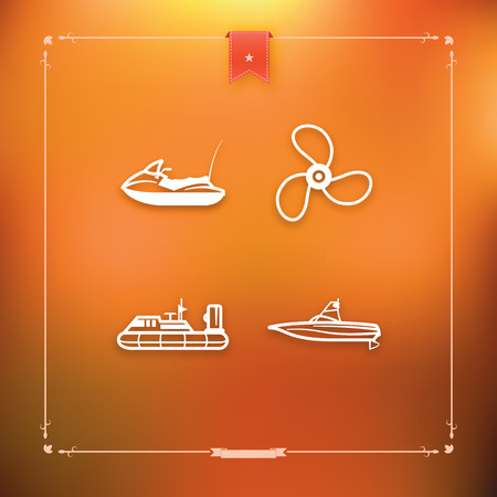 4 icons related to ships, boats and other objects and symbols in relation to boat swimming, pictured here from left to right, top to bottom -  Water scooter (motor boat), Propeller, Hovercraft, Wakeboard boat. Ilustrace