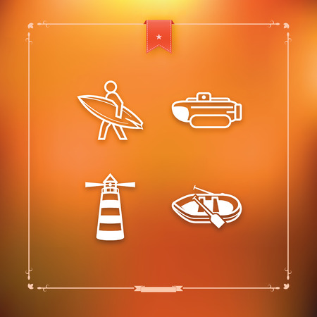 4 icons related to ships, boats and other objects and symbols in relation to boat swimming, pictured here from left to right, top to bottom -  Surfer, Bathyscaphe, Lighthouse, Pontoon.