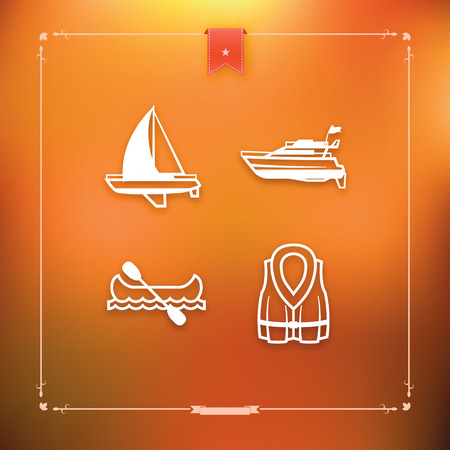 4 icons related to ships, boats and other objects and symbols in relation to boat swimming, pictured here from left to right, top to bottom -  Sailboat (yacht), Motorboat, Canoe, Lifejacket.