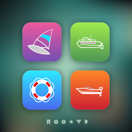 Public transport - various land vehicles, pictured here from left to right, top to bottom -  Windsurfing, Submarine, Lifebuoy, Motorboat. Modern PhoneOS icons set, couple of the transparency objects used in the background. Illustration