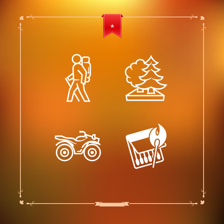 4 icons in relations to summer outdoor activity, pictured here from left to right, top to bottom - Backpacker (hiker, trekker), Forest, Quad bike, Burning match.