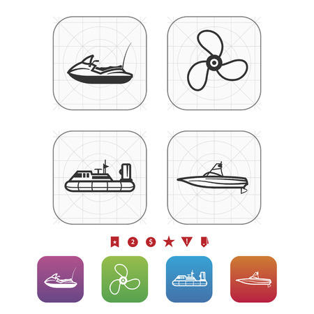 4 vector icons related to ships, boats and other objects/symbols in relation to boat swimming - Water scooter (motor boat), Propeller, Hovercraft, Wakeboard boat. GridMono Vector Icons Set saved as an EPS v. 10