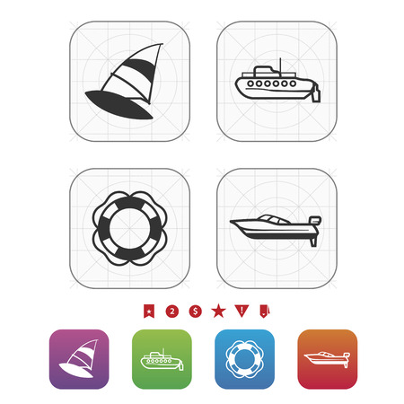 4 vector icons related to ships, boats and other objects/symbols in relation to boat swimming - Windsurfing, Submarine, Lifebuoy, Motorboat. GridMono Vector Icons Set saved as an EPS v. 10 Ilustrace