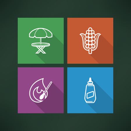 All about food, appliances, objects and other things in relation to Barbecue, pictured here from left to right, top to bottom -  Umbrella and table, Ear of maize (corn), Igniting match, American Mustard.