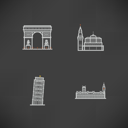 Most famous Architecture Landmarks Around the World, pictured here from left to right, top to bottom -  Triumphal Arch (France), Kremlin (Russia), Leaning Tower of Pisa (Italy), House of Parliment (England),   Illustration