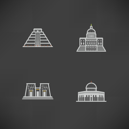 Most famous Architecture Landmarks Around the World, pictured here from left to right, top to bottom -  Chichen Itza (Peru), Capital (USA), Aswan Temple (Egypt), Dome of the Rock (Israel),