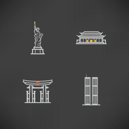 Most famous Architecture Landmarks Around the World, pictured here from left to right, top to bottom -  Statue of Liberty (USA), Forbidden City (China), Torii Gate (Japan), Twin Towers (USA),   Illustration