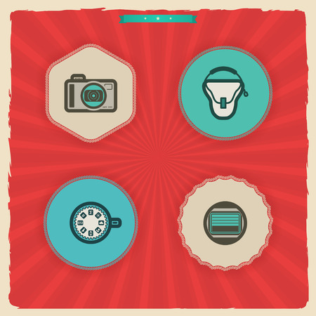 Photography tools & equipment icons set, pictured here from left to right, top to bottom -  Compact camera, Camera bag, Dial button, Camera shutter. 'Sundown' Style Vector Icons Set
