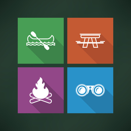 4 icons in relations to summer outdoor activity, pictured here from left to right, top to bottom -  Canoe with paddle, Picnic table, Camp fire, Binoculars. Vector icons made in metro flat UI style saved as an EPS version 10.