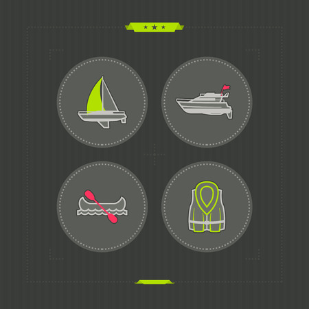 4 vector icons related to ships, boats and other objects/symbols in relation to boat swimming, pictured here from left to right, top to bottom -   Sailboat (yacht), Motorboat, Canoe, Lifejacket.  NeonGrey Vector Icons Ilustrace
