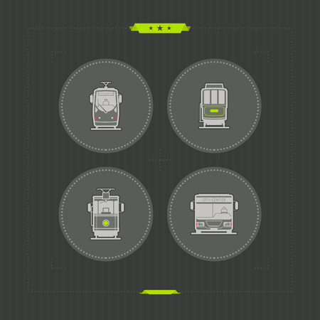 Public transport - various land vehicles, pictured here from left to right, top to bottom -  Modern Tramway, 20. Century Tramway, Old fashion electric tramway, City bus.  NeonGrey Vector Icons Illustration