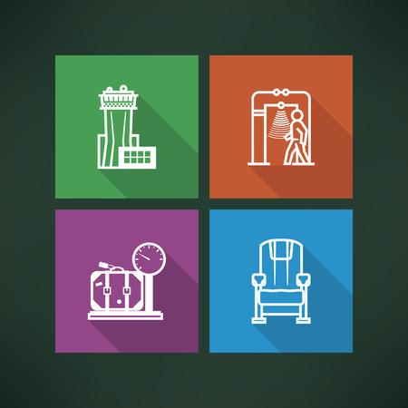 Alle pictogrammen in verband met de zomervakantie de tijd - Verkeerstoren, security scanner, Schaal, Plane vervoeren.