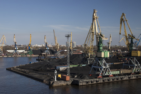 Coal charging harbor in Riga city. Editorial