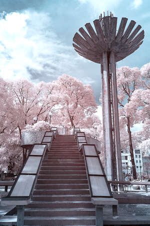 Infrared landscape photo: Turtle lake in Ho Chi Minh city (Vietnam)