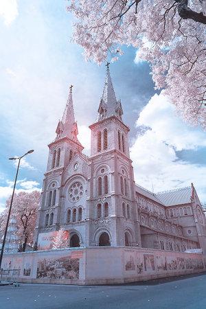 Infrared landscape photo: Notre Dame Cathedral, Ho Chi Minh City (Viet Nam)