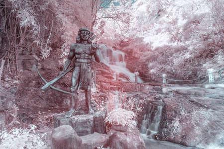Infrared landscape photo: Datanla waterfall in Viet Nam