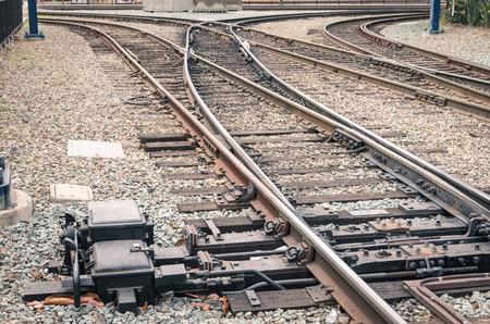 freight train: Railway tracks - Railroad at train Station in San Diego