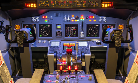Cockpit of an homemade modern Flight Simulator photo