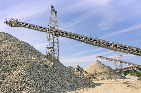 sand quarry: Industrial gravel Quarry and sand Stone refinery