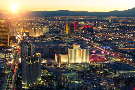 las vegas casino: Las Vegas skyline at sunset - Aerial view of The Strip Editorial