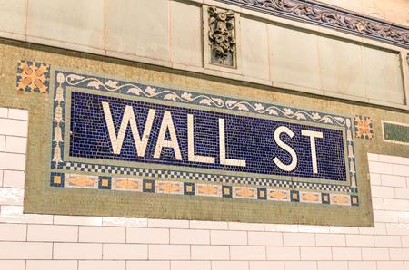 Wall Street subway mosaic sign - New York City underground photo