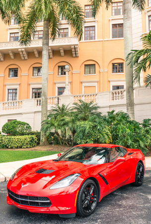 stingray: Chevrolet Corvette Stingray parked in front of Biltmore Hotel