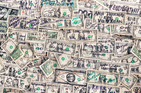 Heap of dollars banknotes background photo