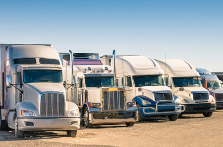 Generic semi Trucks at a parking lot Stock Photo - 27901922
