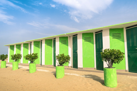 upcoming: Colorful dressing Cabins at the Beach - Concept of upcoming summer in Rimini Italy