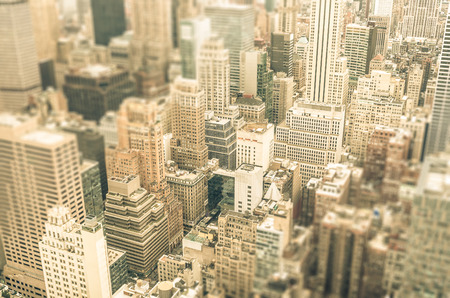tilted view: Skyscrapers in the business district of New York City -  Aerial view of modern buildings of the skyline in downtown Manhattan - Tilted shift defocusing