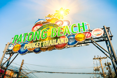 Patong Beach welcom sign - Phuket Thailand photo