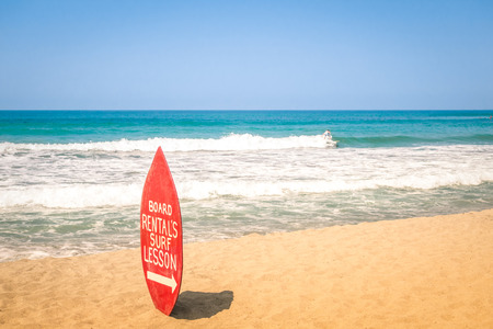 diego: Surfboard at exclusive beach - Surfing school destinations worldwide Stock Photo