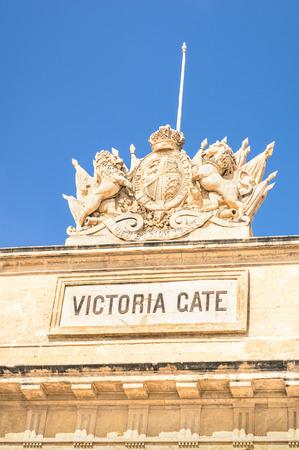 medioeval: Victoria Gate - Medieval old city town of La Valletta - Mediterranean island of Malta