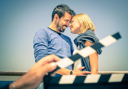 映画のように愛のカップル 写真素材