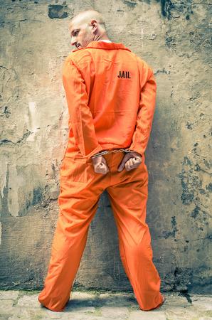 Dead Man Walking - Prisoner with Handcuffs standing proud Standard-Bild