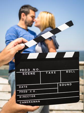 slate board: Couple in Love like in a Movie