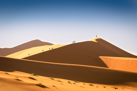 vlei: Tourist people hiking on sand dune at Deadvlei near Sossusvlei  - Namibian world famous desert - African nature wonder