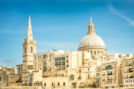 urbanistic: Detail postcard of old town La Valletta - Capital of world famous mediterranean island of Malta - Medieval architecture and urbanistic Stock Photo